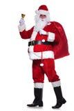 Immagine completa del corpo del Babbo Natale che suona la sua campana Fotografia Stock Libera da Diritti