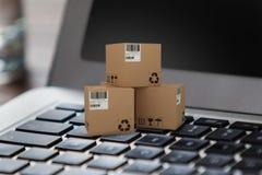 Immagine composita 3d dell'illustrazione delle scatole di cartone Fotografia Stock Libera da Diritti