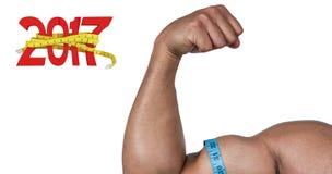 immagine composita 3D dell'uomo muscolare che flette per la macchina fotografica Fotografia Stock