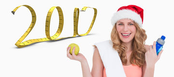 immagine composita 3D della bionda festiva di misura che sorride alla macchina fotografica Immagini Stock Libere da Diritti