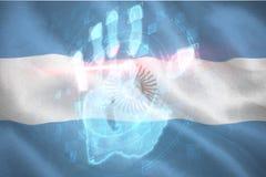 Immagine composita 3d della ricerca digitale della mano di sicurezza illustrazione di stock