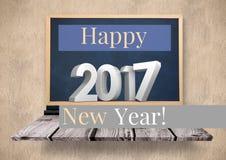 Immagine composita 3D di Digital di 2017 nuovi anni sulla lavagna Fotografie Stock