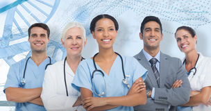 immagine composita 3D di distogliere lo sguardo sicuro del gruppo di medici Fotografia Stock Libera da Diritti