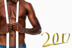 immagine composita 3D di metà di sezione dell'uomo muscolare senza camicia Fotografia Stock