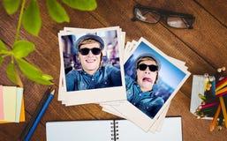 Immagine composita degli occhiali da sole d'uso dei pantaloni a vita bassa pazzi Fotografia Stock Libera da Diritti