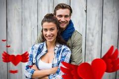 Immagine composita dei cuori 3d dei biglietti di S. Valentino e delle coppie Immagini Stock Libere da Diritti