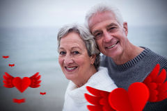 Immagine composita dei cuori senior 3d dei biglietti di S. Valentino e delle coppie Fotografia Stock