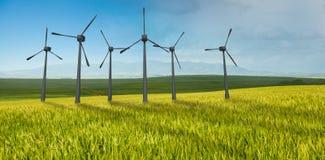 Immagine composita dei mulini a vento parallelamente contro fondo bianco 3d Immagine Stock Libera da Diritti