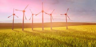 Immagine composita dei mulini a vento parallelamente contro fondo bianco 3d Immagini Stock Libere da Diritti