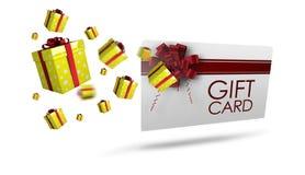 Immagine composita dei regali di Natale di volo Fotografie Stock