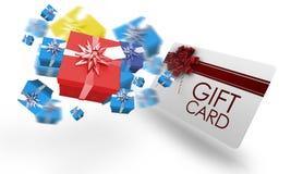 Immagine composita dei regali di Natale di volo Immagine Stock