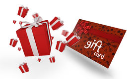 Immagine composita dei regali di Natale di volo Fotografia Stock