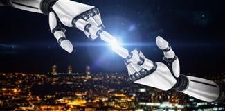 Immagine composita del braccio bianco del robot che indica a qualcosa 3d Fotografie Stock Libere da Diritti