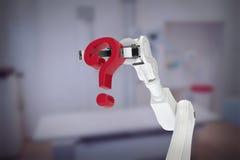 Immagine composita del braccio robot bianco che tiene il punto interrogativo rosso 3d Fotografie Stock