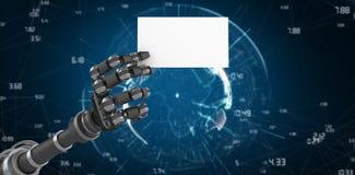 Immagine composita del braccio robot che tiene cartello bianco 3d Fotografie Stock