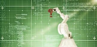 Immagine composita del braccio robot con il punto interrogativo 3d Fotografia Stock Libera da Diritti