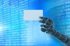 Immagine composita del braccio robot digitalmente generato che tiene cartello in bianco 3d Fotografie Stock