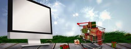 Immagine composita del carrello in pieno dei regali Immagine Stock Libera da Diritti
