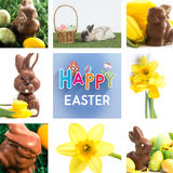 Immagine composita del coniglietto del cioccolato con poche uova di Pasqua Fotografia Stock Libera da Diritti