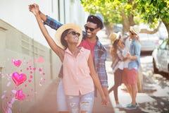 Immagine composita del dancing delle coppie e dei cuori 3d dei biglietti di S. Valentino Fotografia Stock