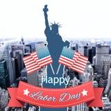 Immagine composita del distintivo felice del testo di festa del lavoro con le bandiere Fotografie Stock Libere da Diritti