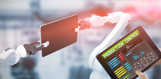 Immagine composita del dito che indica per ridurre in pani 3d Immagine Stock Libera da Diritti