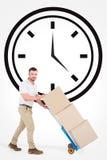 Immagine composita del fattorino che spinge carrello delle scatole Immagine Stock Libera da Diritti