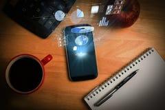 Immagine composita del fondo globale 3d di tecnologia Fotografia Stock Libera da Diritti