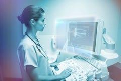 Immagine composita del grafico di scheletro sul blu con le luci 3d Fotografia Stock