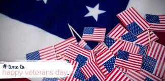 Immagine composita del logo per la giornata dei veterani nel hashtag dell'america Fotografie Stock