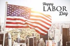 Immagine composita del manifesto del testo felice di festa del lavoro immagine stock