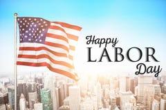 Immagine composita del manifesto del testo felice di festa del lavoro immagini stock libere da diritti