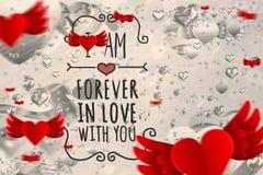 Immagine composita del messaggio dei biglietti di S. Valentino Immagini Stock