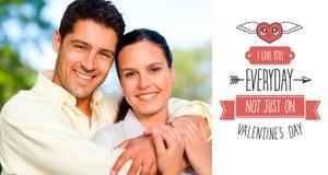 Immagine composita del messaggio sveglio dei biglietti di S. Valentino Immagini Stock Libere da Diritti