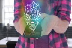 Immagine composita del midsection dell'uomo in casuale facendo uso dello Smart Phone 3d Immagini Stock