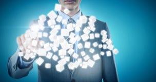 Immagine composita del midsection dell'uomo d'affari ben vestito che indica 3d Fotografia Stock Libera da Diritti