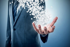 Immagine composita del midsection dell'uomo d'affari che indica 3d Fotografie Stock