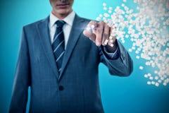 Immagine composita del midsection dell'uomo d'affari che indica 3d Fotografia Stock Libera da Diritti