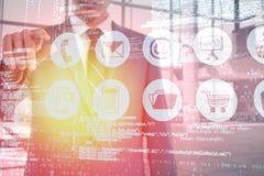 Immagine composita del midsection dell'uomo d'affari che indica 3d Fotografie Stock Libere da Diritti