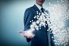 Immagine composita del midsection dell'uomo d'affari specializzato che offre 3d Fotografia Stock Libera da Diritti