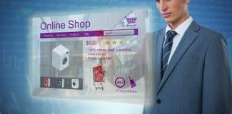 Immagine composita del midsection di indicare elegante dell'uomo d'affari Immagini Stock