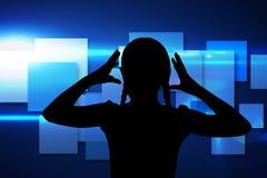 Immagine composita del modello blu del cubo Fotografie Stock Libere da Diritti