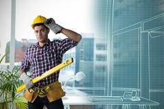 Immagine composita del muratore sicuro immagini stock libere da diritti