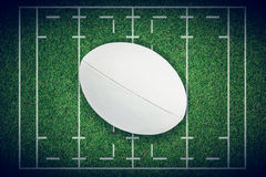 Immagine composita del primo piano della palla di rugby Fotografie Stock