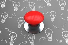 Immagine composita del pulsante rosso digitalmente generato illustrazione di stock