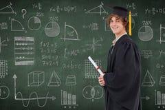 Immagine composita del punto di vista di profilo di uno studente in abito laureato Fotografia Stock