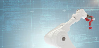 Immagine composita del punto interrogativo robot bianco della tenuta del braccio 3d Fotografia Stock Libera da Diritti
