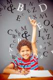 Immagine composita del ragazzino sveglio che solleva mano Fotografie Stock Libere da Diritti