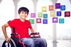Immagine composita del ritratto del ragazzo che si siede in sedia a rotelle Fotografia Stock