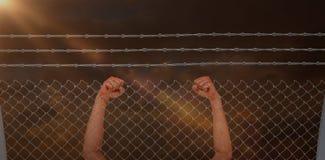 Immagine composita del ritratto dell'arrivo allegro dell'incrocio dell'atleta del vincitore Immagini Stock Libere da Diritti